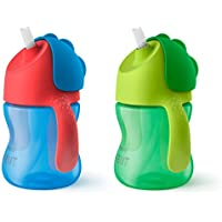 2 Pack Philips Avent My Bendy 7oz Straw Cup (Blue/Green)
