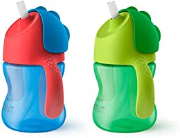 Philips Avent My Bendy Straw Cup 7oz, 2 pack, Blue/Green, SCF790/21