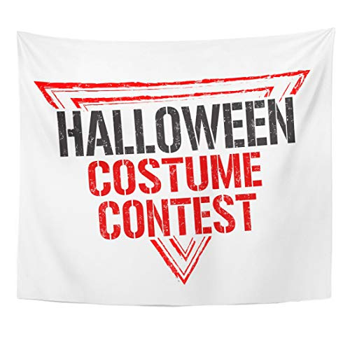 Semtomn Tapestry Autumn Aged Halloween Costume Contest Rubber Stamp on White Home Decor Wall Hanging for Living Room Bedroom Dorm 50x60 Inches ()