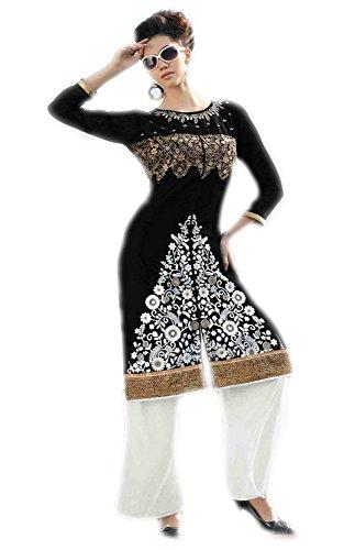 Jayayamala Top tunique noire pour femme avec broderie multicolore broderie blous