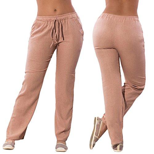 Solide Confortable Slim pour Taille Taille Abricot Moyenne Pantalons Pantalons en Fit Femme Mousseline Casual lastique Couleur Longs Mode Leggings Pantalon qqSYpRO