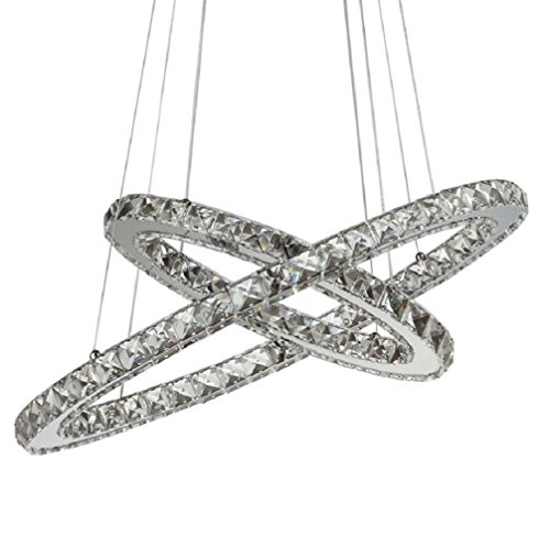 Flashing God K9 Really Crystal Dimmable LED Lighting Rings Chandelier Ceiling Lamp Fixtures Modern Pendant Light, 3000-6500 Kelvin.D7.8 15.7 .