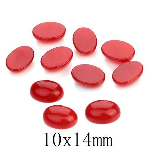 Pukido 10pcs/lot Oval Natural Stone Cabochons Flat Round Red Bulk Crsytal Quartz Druzy Cabochon Cameo for Jewelry Settings Blank Base - (Color: 10x14mm) ()