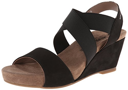 Mephisto Womens Barbara Elasticated Sandals Black Bucksoft