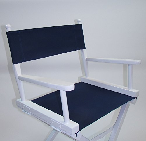 PERSONALIZED IMPRINTED Gold Medal Contemporary 30'' Bar Height White Frame Directors Chair - Navy by TLT