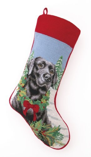Black Lab Labrador Retriever Dog Needlepoint Christmas Stocking by Peking Handicraft