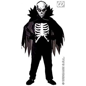 l boys scary skeleton costume outfit for halloween fancy dress kids 810yrs 140cm