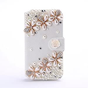 GOG-New Luxury Peral Flower Rhinestone Pattern Leather Case with Stand for Samsung Galaxy S4 i9500