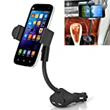 Car Mount Lighter Socket Holder Fast Charging 3.1A Dual USB Ports for iPhone 6 6S, Plus, 5S 5C 5 SE - Samsung Galaxy S7, S6, Edge, S5, S4, S3 - Galaxy Note 6 5 4 3 2 - LG G3 G4 G5 V10 - Droid Turbo 2