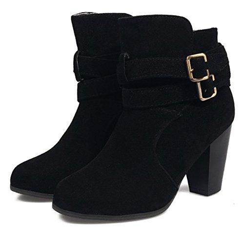 Aisun Womens Fashion Buckled Strap Ronde Neus Slofjes Ruige Hoge Hak Pull On Enkellaarzen Schoenen Zwart