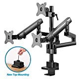 AVLT-Power Triple 27' Monitor Mount Stand - Three Height Adjustable Mechanical Spring Arms Holds 17'-27' Computer Screens Weight up 15.4 lbs VESA Compatible New Top Mounting Premium Aluminum