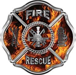 Interior Wall Design Traditional Fire Rescue Fire Fighter Maltese Cross Sticker / Decal in Inferno ()