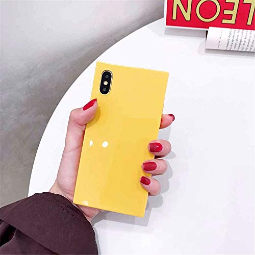 Tzomsze iPhone Xs MAX Square Case Reinforced Corners TPU Cushion,[2019 Cute Candy Color Series] Square TPU Slim Shock Absorption Silicone Case Cover-Yellow