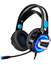 Gaming Headset,PHOINKAS PC Stereo Gaming Headphones for Xbox One PS4, Surround Sound Over Ear Headphones with Noise Cancelling Mic,Volume Control for Laptop,Mac,iPad,Nintendo Switch Games