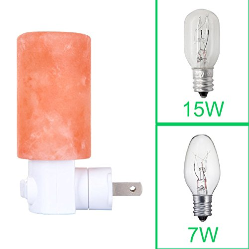 Zoostliss Mini Hand Carved Natural Crystal Cylinder Shaped Himalayan Salt Lamp Night Light with Additional Bulb for Backup, 7W+15W Bulb