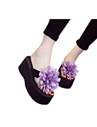 WeiYin Womens Plumeria Flower High Platform Wedge Flip Flop Thong Sandals