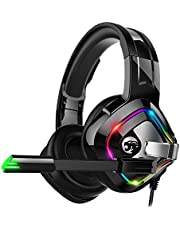 ZIUMIER Gaming Headset PS4 Headset, Xbox One Headset with Noise Canceling Mic & RGB Light, PC Headset with Stereo Surround Sound, Over Ear Headphones for PC, PS4, Xbox One, Laptop
