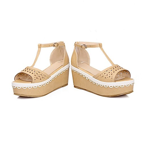 Womens Heel Kitten 5 Sandals Solid Soft Open Material US WeenFashion Toe B Apricot Platform M Buckle with PU Wedge dRIqSw