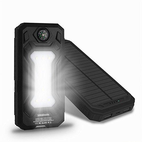 USA 50000mah Solar Power Bank 2 USB 9 LED Backup Pack Battery Charger For Phone