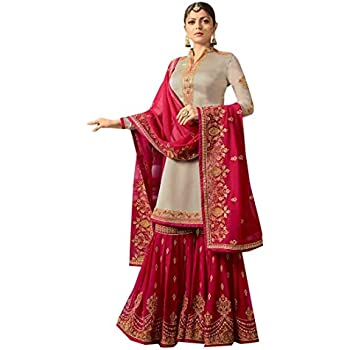 f474d76b4a Bridal Wedding Pink Grey Heavy Embroidery Muslim Sharara Suit Georgette  Ethnic Indian 7264