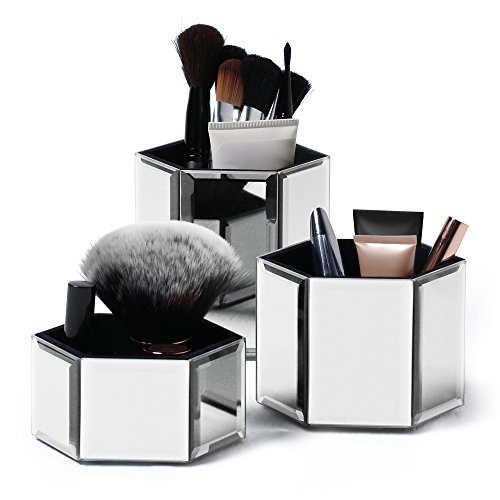 Beautify Mirrored Hexagon Cosmetics Accessories