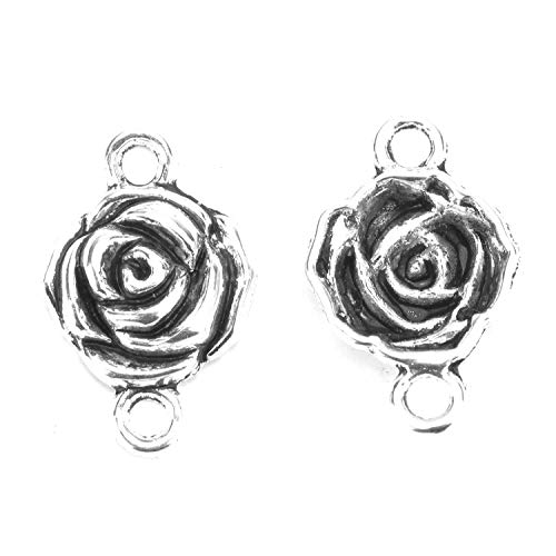 Monrocco 50pcs Rose Flower Connector Charms Rose Charms for Jewelry Making 25X16mm