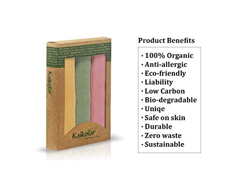 """Kaikolar Just Nature & You Baby Towels   100% Organic Cotton Baby Bath Towel   Plant Dyed   Soft, Absorbent, Prewashed Handmade Newborn Towels for Boys & Girls 30x30"""" Yellow Green Pink 3 Piece Set"""