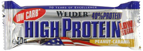 Weider Low Carb High Protein Bar, Erdnuss-Karamell, 1er Pack (25 x 50g)