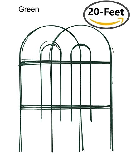 Amagabeli Decorative Garden Fence 24 in x 20 ft Rustproof Green Iron Landscape Wire Folding Fencing Ornamental Panel Border Edge Section Edging Patio Fences Flower Bed Animal Barrier for Dog Outdoor