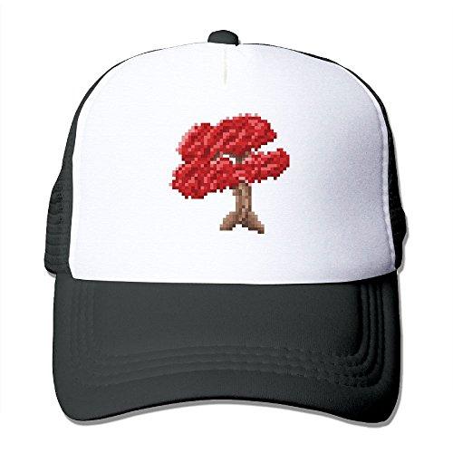 RUN_RUNNING& Bonsai Tree - Pixel Art Unisex Adjustable Mesh Cricket Cap Hat Unisex Cricket