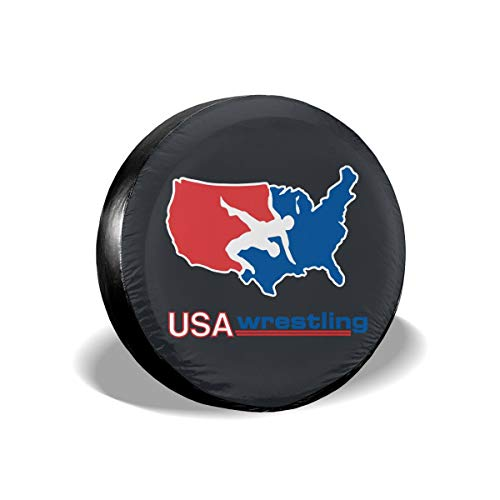 (Srggkjs USA Wrestling Logo Tire Cover 15 Inch Dust-Proof, Waterproof, and Anti-Corrosion with Nylon Cord and Clasp)