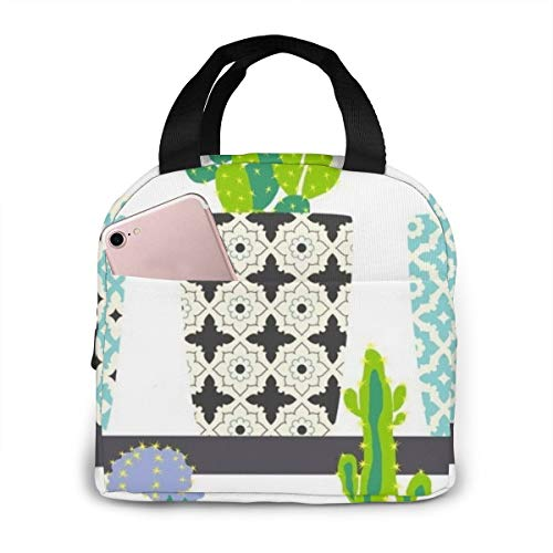 Cute Cactus Flowers In Ornamental Pots Hand Drawing Portable Insulated Lunch Bag Lunch Tote Cooler Bag (Drawing Of A Flower In A Pot)