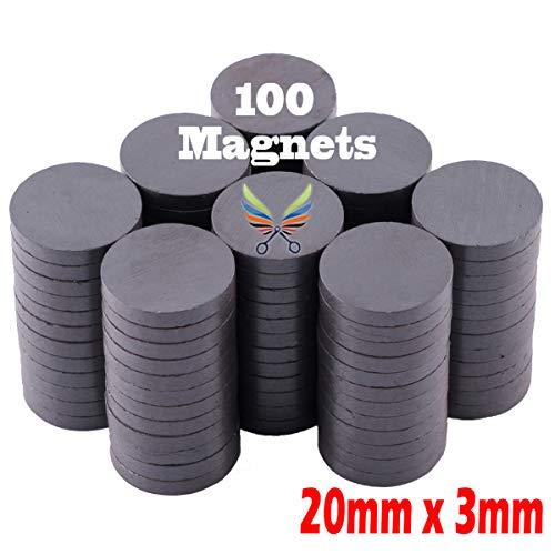 "Skilled Crafter 100 Round Magnets for Crafts. 20mm x 3mm (13/16"") Bulk Box for Best Value. Grade 5 Ferrite Ceramic Industrial Disc Magnet. Ideal for Craft, DIY, Whiteboard, Bottle Cap, Science, Fridge"