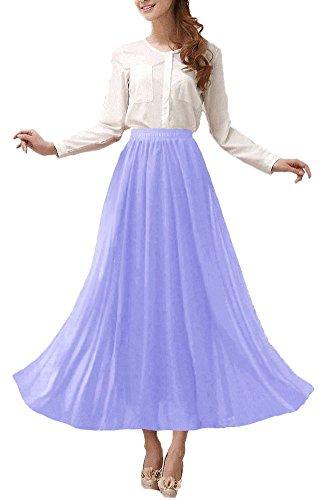 Afibi Womens Chiffon Retro Long Maxi Skirt Vintage Dress (XXX-Large, Lavender)