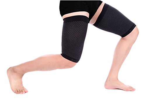 Doc Miller Premium Thigh Hamstring Compression Sleeve - 1 Pair Non-slip Support Quadriceps Cramps Men Women - Perfect for Slimming Injury Relief Recovery Running Sports Groin (Black, X-Large) by Doc Miller