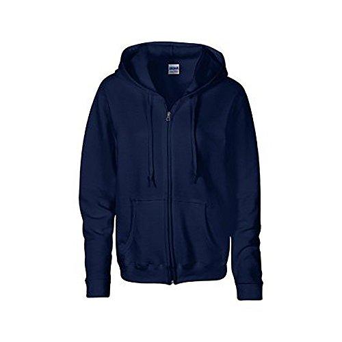 Gildan Heavy Blend Ladies Full Zip Hood Sweat/Sweatshirt Hoodie (L) (Navy)