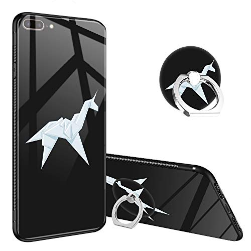 - iPhone 8 Plus Case,Blade Runner Unicorn iPhone 7 Plus Tempered Glass Back Cases with Finger Ring Stand, 360°Rotatable Ring Holder Kickstand Fashoin Soft TPU Bumper Frame Case for iPhone 7/8 Plus