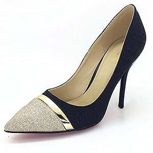 YIXINY Zapatos de tacón DX427 Primavera Y Otoño Brillo De La Moda Fine Talón Del Zapato Poco Profundo Boca Sra Zapatos De Tacón Alto ( Color : Negro , Tamaño : EU38/UK5.5/CN38 )