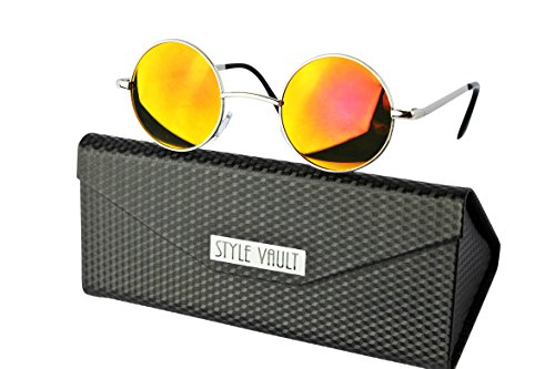 V143-FC Style Vault X-small Size Lens Round Metal Sunglasses (B3399F Silver-sunset red mirror w case, clear)