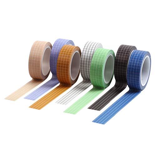 nonbrand 7 rollen raster afgedrukt Washi tape set 15mm brede decoratieve maskertape festival cadeau verpakking partij benodigdheden