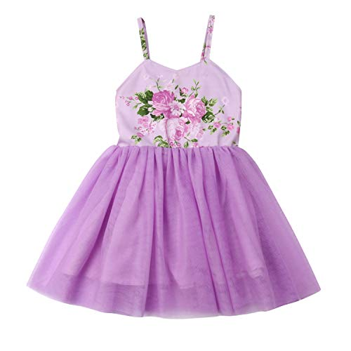 Flower Girls Backless Floral Printed Pink Lace Tutu Dress Toddler Kids Princess Party Dresses Sundress (4T, Purple)