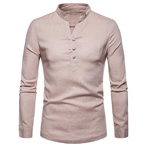 Toimothcn Mens Linen Tops Large Size Long Sleeve Henry Casual Button Top Blouse Shirts Slim Fit(Khaki,M)