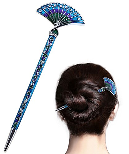 LiveZone Fashion Hair Decor Chinese Traditional Style Women Girls Hair Stick Hairpin Hair Making Accessory with Fan Shaped,Blue ()