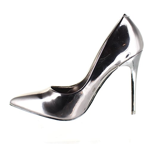 Pointed Pumps Heels Suede Pewter Shoe Women's Toe Material Urban Patent Metalic w0pz6Uqpx