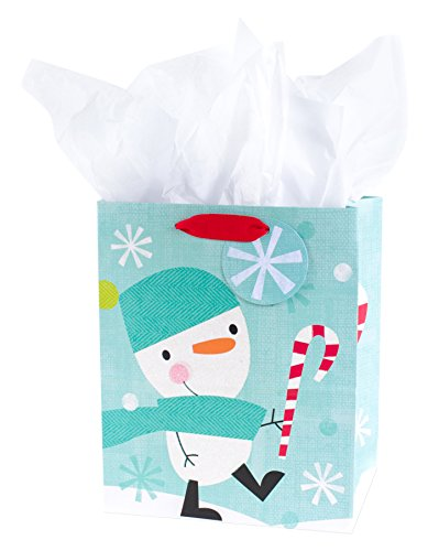 - Hallmark Medium Holiday Gift Bag with Tissue Paper (Snowman & Candy Cane)