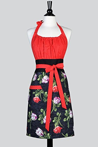Cute Kitsch Womens Retro Apron in Red and Black Spring Tulips Vintage Style Kitchen Apron (Cute And Creative Costumes)