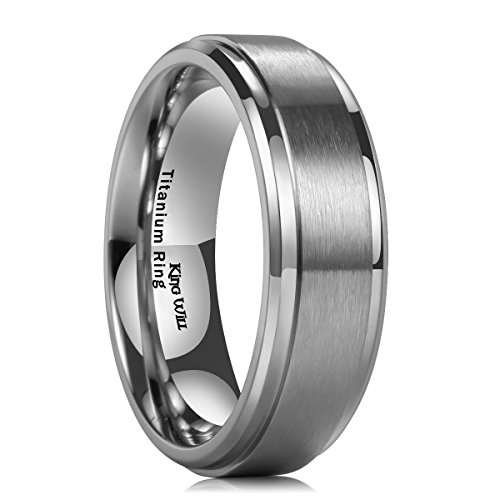 King Will 7mm Mens Titanium Ring Wedding Band Brushed Matte Finished Engagement Ring Comfort Fit