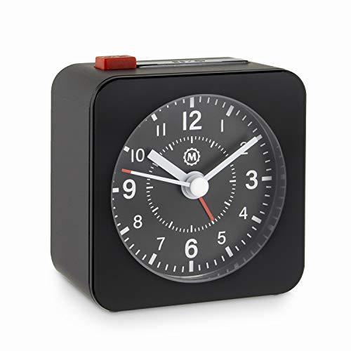 - Marathon CL030065BK-BK2 Mini Travel Alarm Clock. No Ticking, Auto Back Light and Snooze Function. Color-Black Case/Black Dial