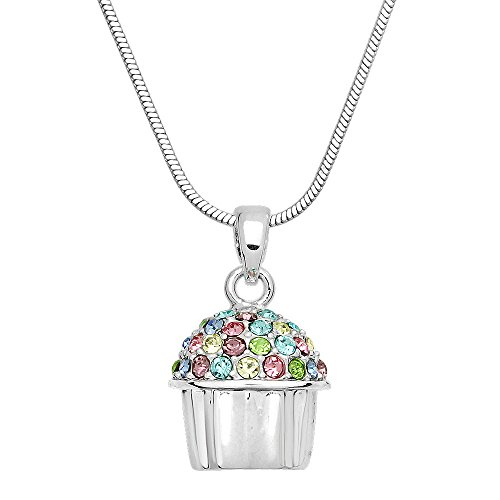 Falari Cup Cake Pendant Necklace Multi-Color Rhinestone Crystal (Cupcake Charm Necklace)