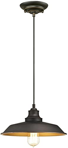Westinghouse Iron Hill One-Light Indoor Pendant, Oil Rubbed Bronze Finish with Highlights and Metal Shade One Light Oil Rubbed Bronze